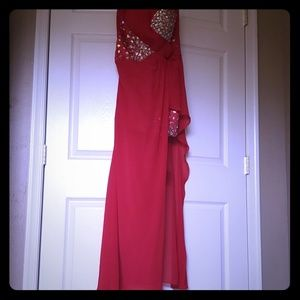 Rhinestones Galore Red Dress